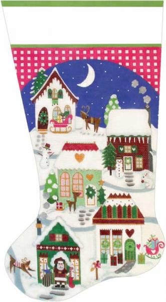 click here to view larger image of Christmas Village Stocking (hand painted canvases)