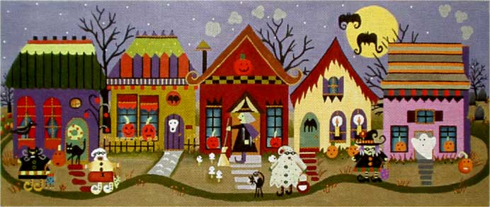 Halloween Village hand painted canvases