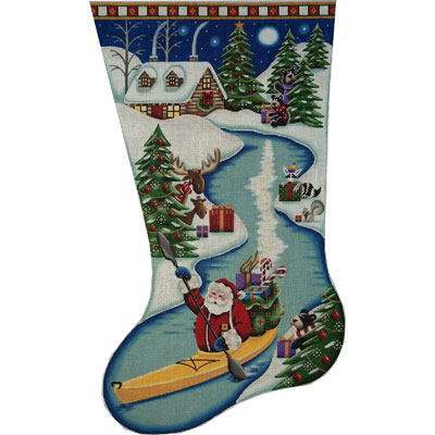 click here to view larger image of Santa on the River Stocking - 18ct (hand painted canvases)