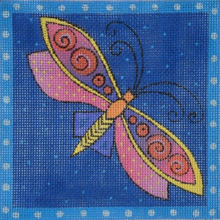 click here to view larger image of Blue Dragonfly (hand painted canvases)