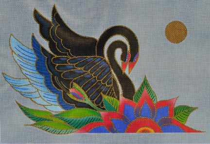 click here to view larger image of Black Swans (hand painted canvases)