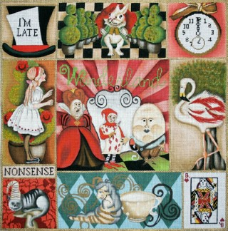click here to view larger image of Alice in Wonderland Collage (hand painted canvases)