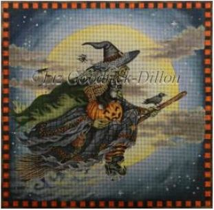 Witch's Moonlight Ride hand painted canvases