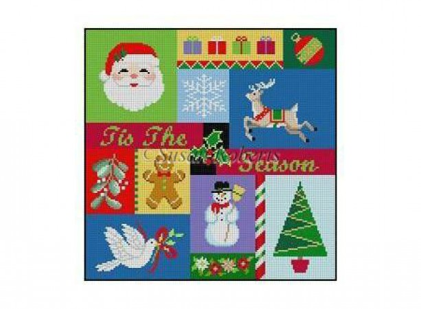 click here to view larger image of Tis The Season Patchwork (hand painted canvases)