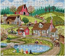click here to view larger image of Country Scene (hand painted canvases)