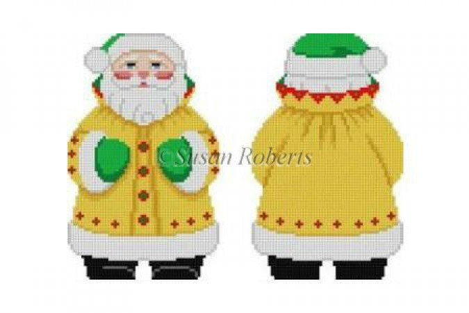 click here to view larger image of Yellow Coat Santa (hand painted canvases)