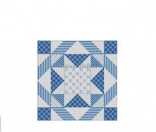 click here to view larger image of Denim Patchwork Star (hand painted canvases)
