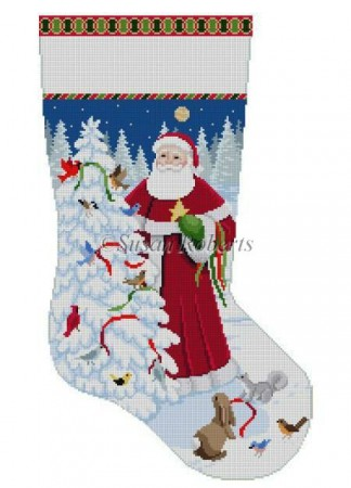 click here to view larger image of Birds and Santa Stocking (hand painted canvases)