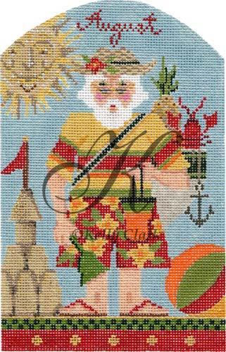 click here to view larger image of August at the Beach Santa (hand painted canvases)