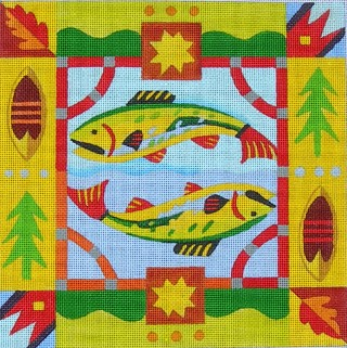 click here to view larger image of Lodge Fish (hand painted canvases)