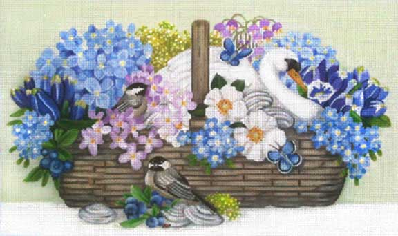 click here to view larger image of Swan Basket (hand painted canvases)