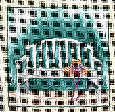 click here to view larger image of Bench With Hat (hand painted canvases)