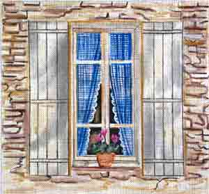 click here to view larger image of Gingham Window (hand painted canvases)