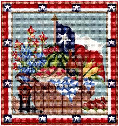 click here to view larger image of Texas Picnic Basket (hand painted canvases)