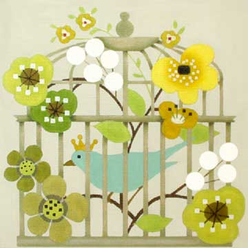 click here to view larger image of Blue Bird Cage (hand painted canvases)