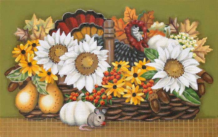 click here to view larger image of Thanksgiving Basket (hand painted canvases)