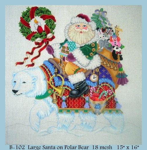 click here to view larger image of Large Santa on Polar Bear (hand painted canvases)