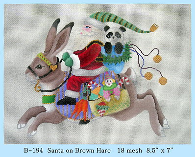Santa on Brown Hare hand painted canvases
