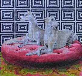 click here to view larger image of Whippets (hand painted canvases)