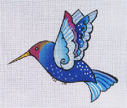 click here to view larger image of Blue Hummingbird (hand painted canvases)