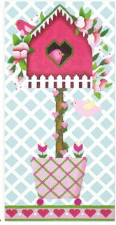 click here to view larger image of Birdhouse Topiary A - Roses (hand painted canvases)