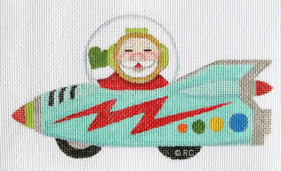 click here to view larger image of Santa Cadillac Rocket Car (hand painted canvases)