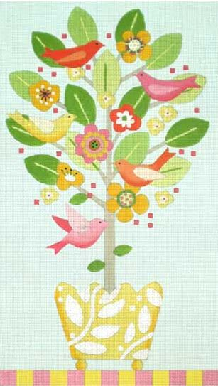 click here to view larger image of Bird Topiaries - Spring (hand painted canvases)
