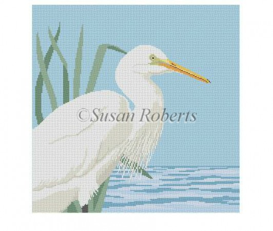 click here to view larger image of Snowy Egret (hand painted canvases)