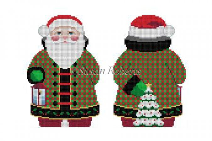 click here to view larger image of Checker Coat Santa (hand painted canvases)