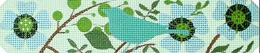 click here to view larger image of Aqua Bird Bracelet (hand painted canvases)