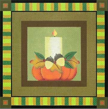 click here to view larger image of Candle - Thanksgiving Square (hand painted canvases)