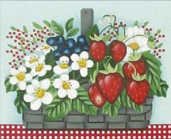click here to view larger image of Petite Berry Basket (hand painted canvases)
