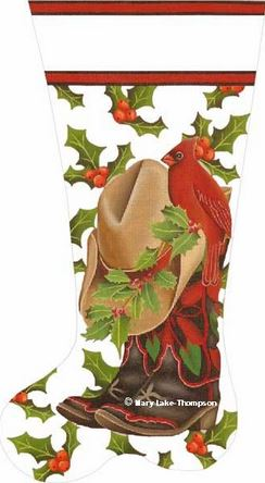 click here to view larger image of Boot & Hat Stocking (hand painted canvases)