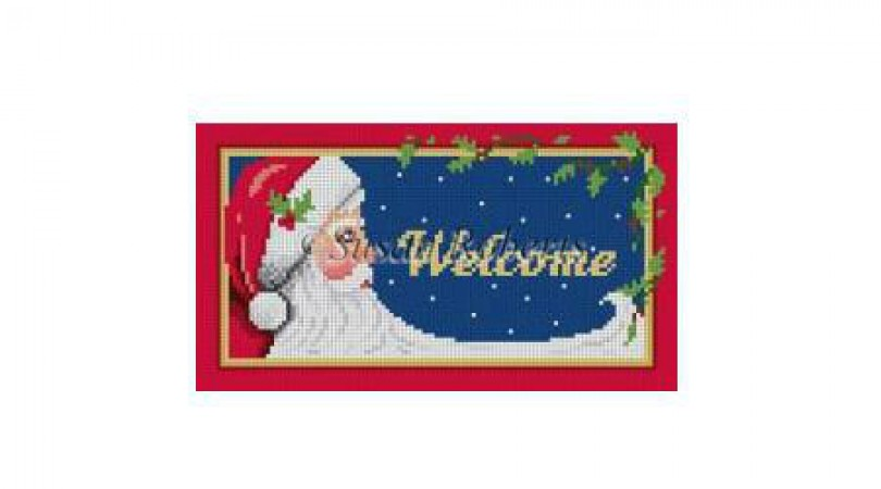 click here to view larger image of Night Sky Santa Welcome (hand painted canvases)