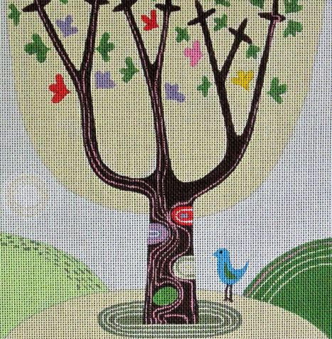 click here to view larger image of Tree With Blue Bird (hand painted canvases)