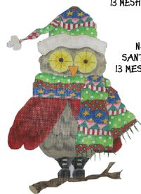 click here to view larger image of Santa Owl (hand painted canvases)