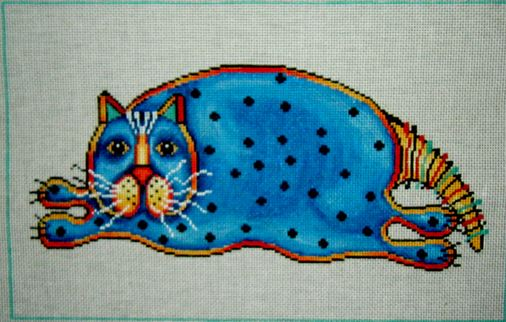 click here to view larger image of Fat Blue Cat (hand painted canvases)