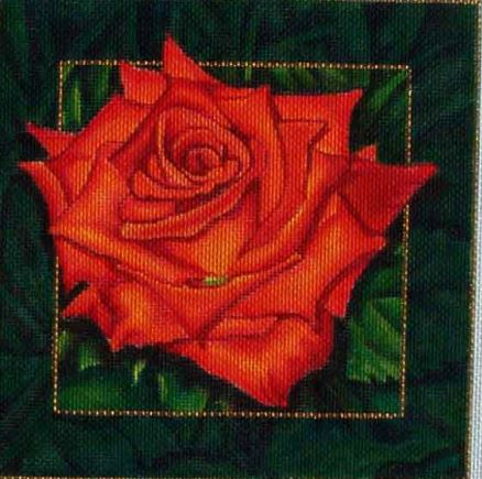click here to view larger image of Orange Rose (hand painted canvases)