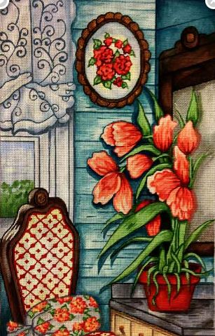 click here to view larger image of Cottage Tulips (hand painted canvases)