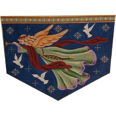 click here to view larger image of Golden Angel Stocking Cuff - 13ct (hand painted canvases)