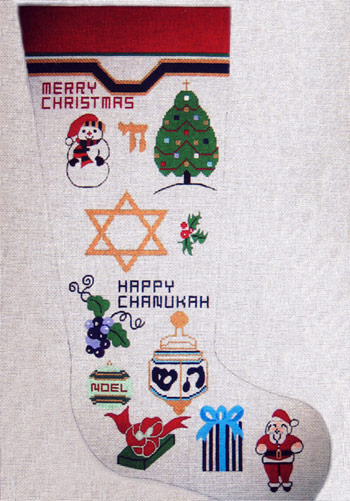 click here to view larger image of Interfaith Stocking - 13ct (hand painted canvases)