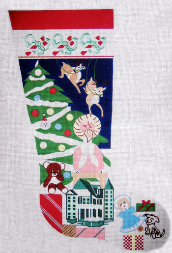click here to view larger image of Reindeer Stocking - 13ct (hand painted canvases)