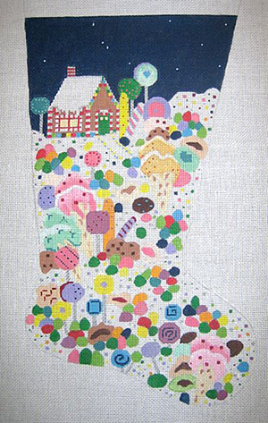 click here to view larger image of CandyLand Stocking - 13ct (hand painted canvases)