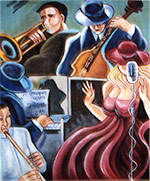click here to view larger image of Musical with Singer - 13ct (hand painted canvases)