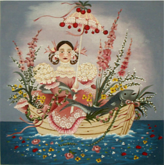 Girl in a Boat -18ct hand painted canvases