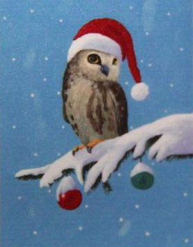 click here to view larger image of Christmas Owl on Branch (hand painted canvases)