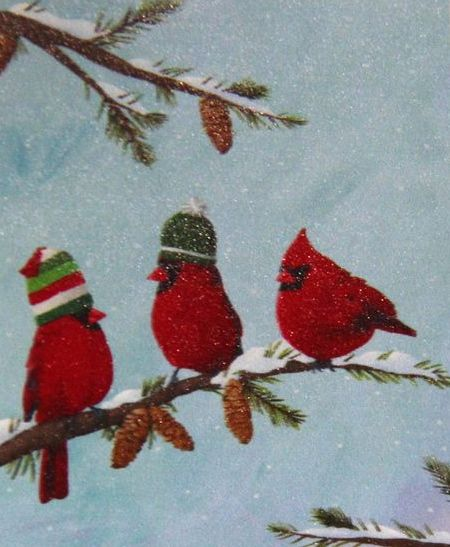 click here to view larger image of Red Birds on Branch (hand painted canvases)