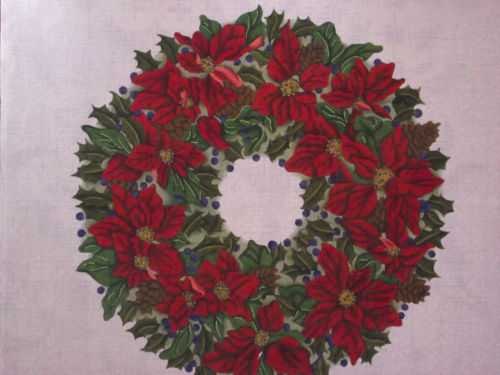 click here to view larger image of White Poinsettia Wreath (hand painted canvases)