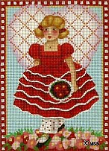 click here to view larger image of Victorian Valentine - Red Ruffles (hand painted canvases)