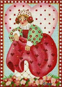 click here to view larger image of Victorian Valentine - Queen of Hearts (hand painted canvases)